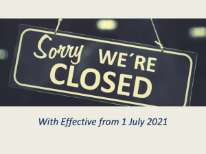 结业通告2021年7月1日生效